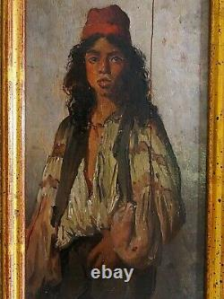 Sublime Oil On Wood Eastalist Portrait Of A 19th-century Young Man