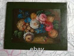 Sup. Decorative Panel On Wood, Flowers Painted On Green Background, Good Condition, 1 Of 4