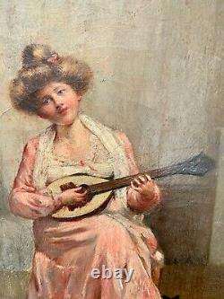 Superb Oil On Canvas La Jeune Musicienne Au Chat Signed And Dated Poujol