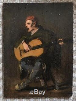 Superb Oil On Wood Eugene Forel 1882 Guitar Player Hondarribia