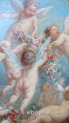 Superb Painting Angelots / Putti Grand Painter Henry Sieurac