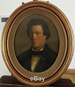 Superb Portrait Of Young Man, Ancient Painting, Anonymous, Circa 1900