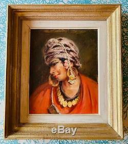 Superb Portrait Orientaliste, Oil On Wood In The Style Of José Cruz Herrera