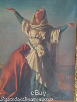Supere Oil On Canvas Holy Virgin Wood Frame Golden Keys Signed Lafon Nineteenth