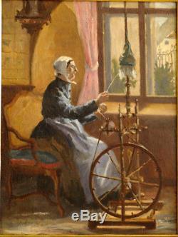 Table 1897 On Mahogany Panel Spinning Wheel Rouet Ferrey Julien