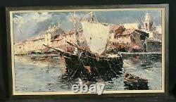 Table Ancient Marine Boats Saint Tropez Signed Salomon Le Tropézien Xxe