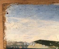 Table Ancient Oil Gaston Roulet (1847-1925) Landscape Sea Coast Trieste Italy