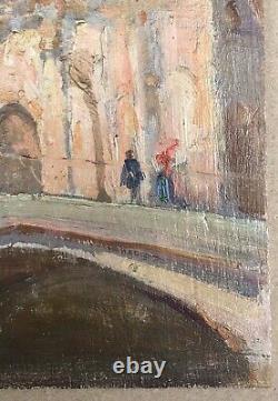 Table Ancient Oil Landscape Architecture Church Bridge Venice Italy Late 19th