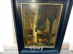 Table Ancient Oil On Interior Wood Panel Of Church 19th Signed. A. Dery