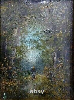 Table Ancient Oil On Wood, Landscape Under Wood, Walker, 9-12 CM