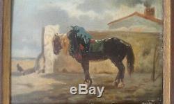 Table Former 19 Th. Horse In Farmyard. J. Veyrassat
