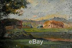 Table Former Oil Landscape Gisy Nobles In Yonne Impressionism 1900