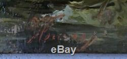 Table Former Oil On Panel Illegible Signature Barbizon School
