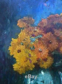 Table Hsp Bouquet Of Orange Dahlias Signed Vallemont