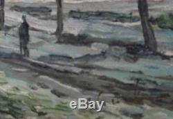 Table Hsp Winter Landscape Signed Eugène Yevgeni Krylov (1926) + Cadre