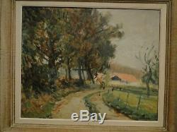 Table L. Bordes 1898/1969-campagne- Landscape Oil On Paper Rouen School
