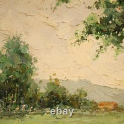 Table Landscape Painting With Oil On Canvas Signed Characters Old Style