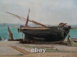 Table Marine Painting Morlon Fecamp Beach Boat Sea Normandie 19th French