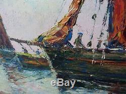 Table Of Marine Oil On Wood Louis Bissinger 1899-1978 Superb