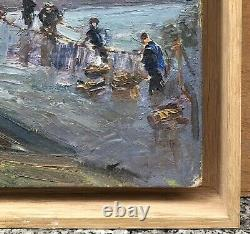 Table Oil Gaston Durel (1879-1954) Landscape Fishermen Characters Frame