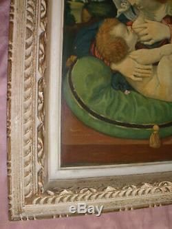 Table / Oil On Canvas After The Virgin Green Wooden Frame Cushion +