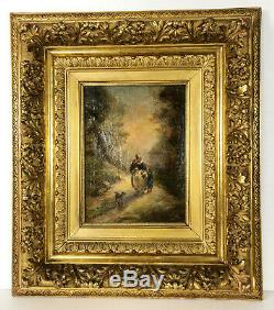 Table / Oil On Canvas Signed The Nineteenth Frame In Beautiful Wood Gold