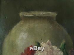 Table Oil On Canvas Still Life Flowers Carnations Edgard Breyne Early Twentieth