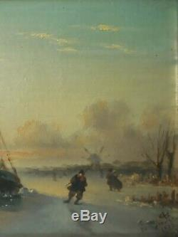 Table Oil On Cardboard Animated Marine 1888 XIX Signed Timber Stucco Golden Frame