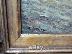Table Oil On Cardboard Sign Landscape Sous Bois Anime Decipher Nineteenth