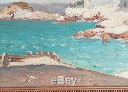 Table Oil On Landscape Marine Fort Off Marseille H Of Cueja Nineteenth