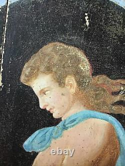 Table Oil On Oak Wood 19th Young Naked Man In The Neo-pompeian Taste