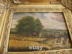 Table Oil On Wood Signed Ba-carvers - Gilders Golden Wood Frame
