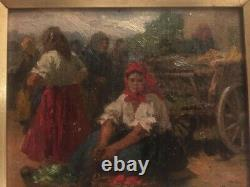 Table Oil On Wood, Woman At The Market. Unreadable Sign. See Photos