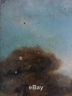Table Oil On Wood Xixth 19th Animated Landscape (signed)