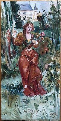 Table Oil Painting Art Nouveau Portrait Rousse Castle Flowers Bouquet
