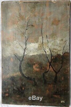 Table Oil Painting Signed Hc (monogram) Barbizon Landscape Nineteenth Study