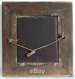 Table Oil / Wood Portrait Girl E. Koch 1899 XIX Wood Stucco Golden Frame