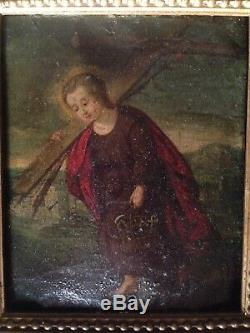 Table Old 17th Oil On Copper Jesus Child Instruments Of The 17th Passion