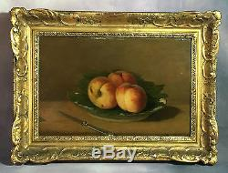Table Old / Oil On Panel Signed Still Life With Fishing Framed