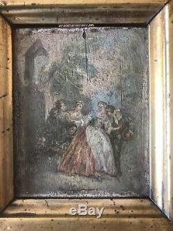 Table Old Oil On Wood Genre Scene