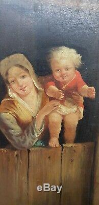Table Painting 18th XVIII / 19th Century Dairy And Her Child Oil On Wood