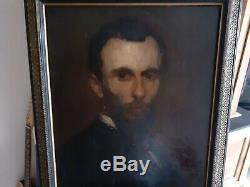 Table Portrait Oil On Wood Xixth 19th Man Panel (eugene Baudin)