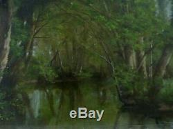 Table Undergrowth And River Oil On Cardboard Barbizon School