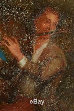 Tableau Ancien 18 Th Portrait Of A Musician Man With Rembrandt Flute Grimou