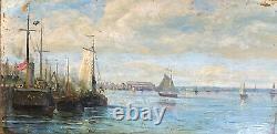 Tableau Ancien Marine Port Bateau Impressionist Signed Roux