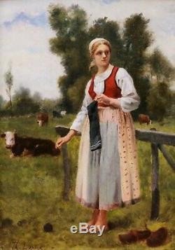 Th. Lepage Table Young Peasant Woman Portrait Oil Fields Cow Jules Breton