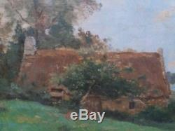 Thatched Cottage At The Water's Edge Barbizon Oil Wood-table Ancient Bizeaute 1880