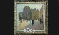 The Church Of Cassel In 1930, Oil / Wood Simon Monnatte (1894-1945) Animated Scene