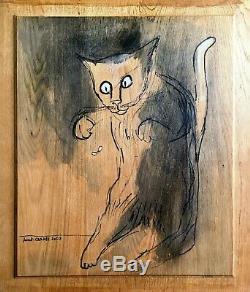 The Hunter Cat (midges) Pigment And Encaustic On Wood 47 CM X 55 CM