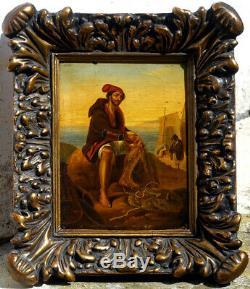 The Neapolitan Fisherman, 1830, Italian School, 1890 Frame! Small Format